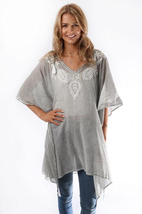 GREY EMBROIDERED KAFTAN